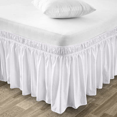 Luxury white wrap around bed skirt