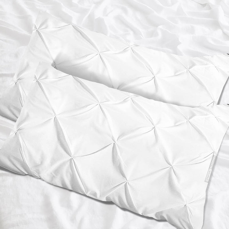 Luxury white pinch pillow cases