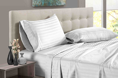 Luxury White Striped Split Sheet Set