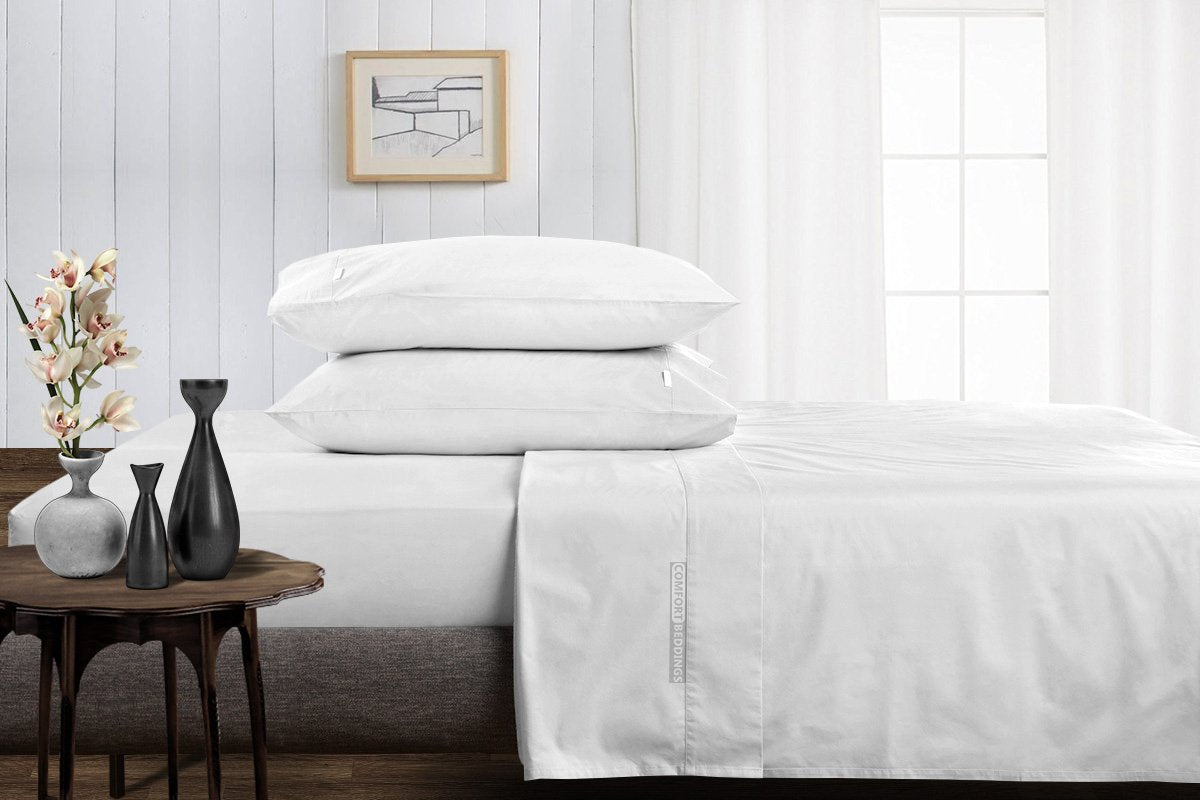 100% Egyptian Cotton White Split Sheet