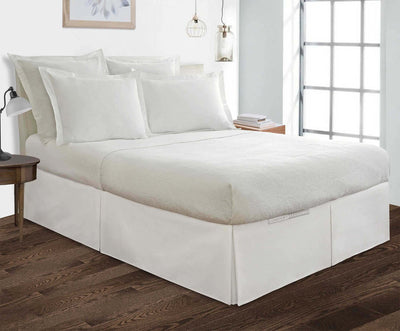 100% Egyptian Cotton white pleated bed skirt