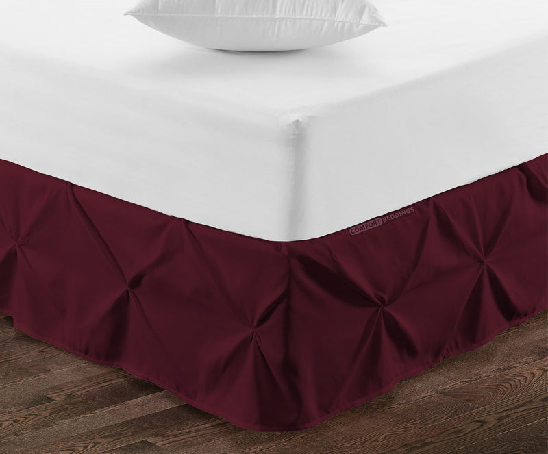Classy Wine pinch pleated bed skirt
