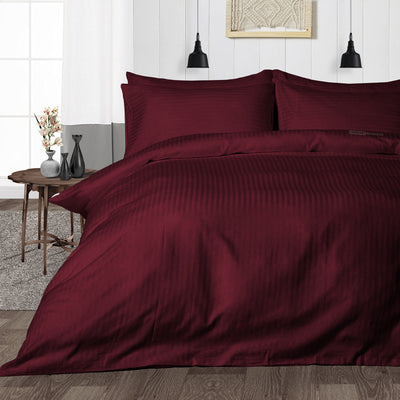 Luxurious Wine Striped Duvet Cover - 600TC