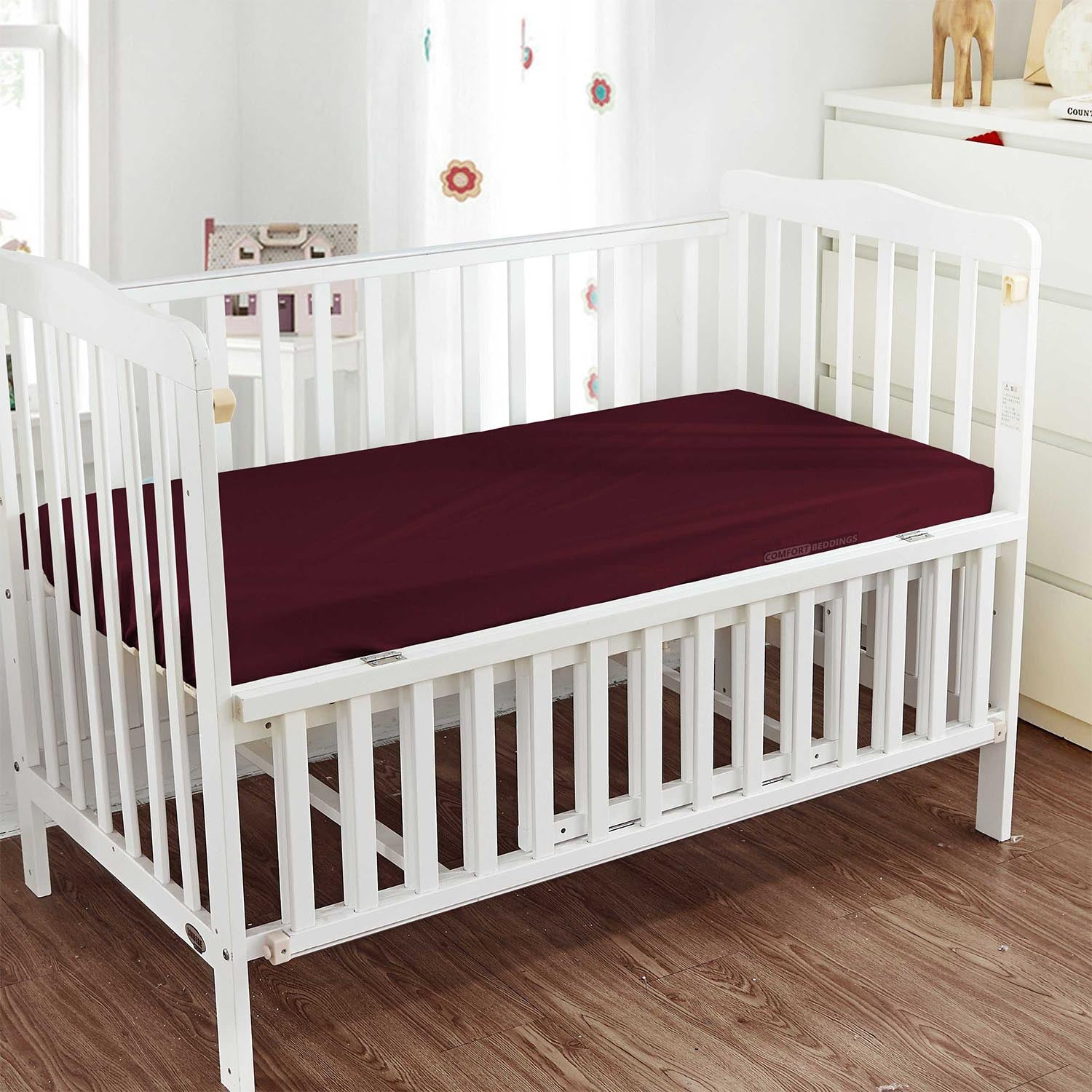 Luxurious Wine Fitted Crib Sheets - 600TC