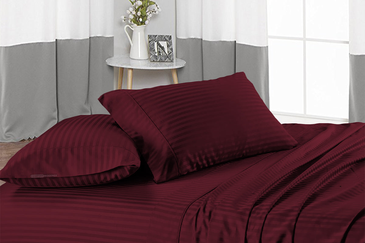 Top Rated Wine Stripe Flat Sheet