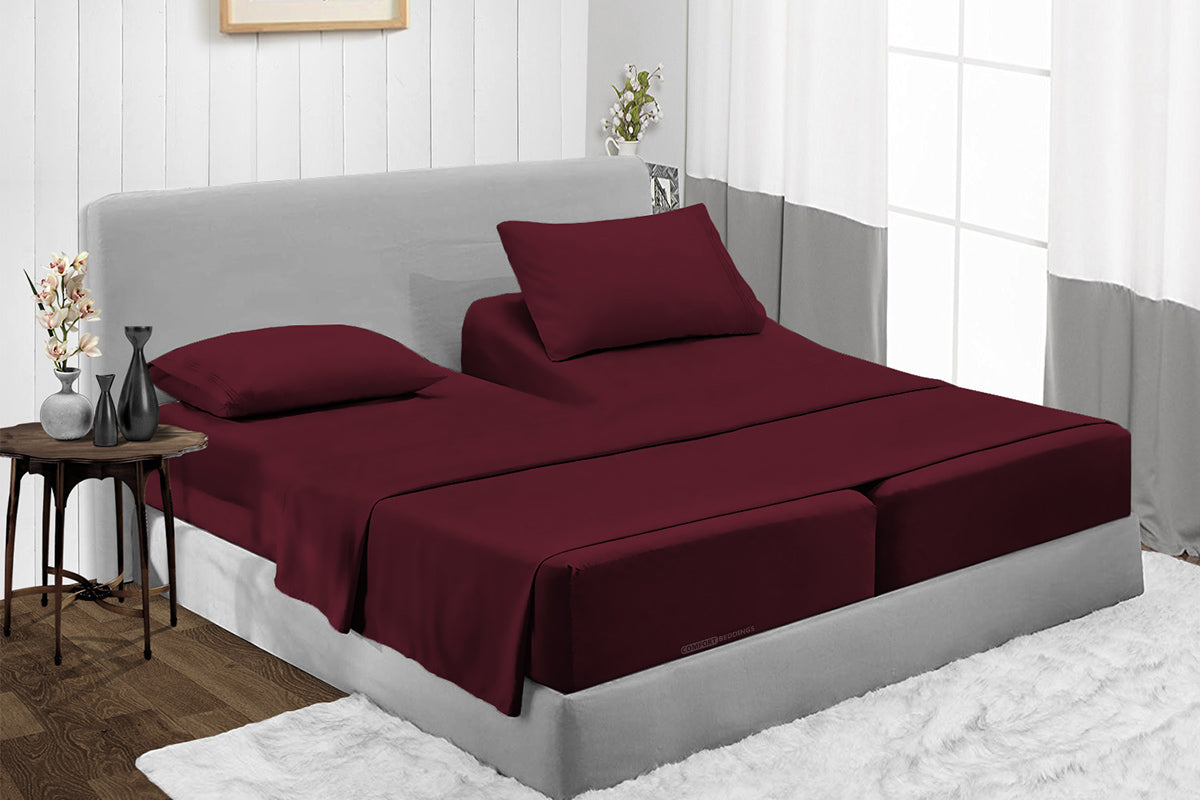Luxury Wine Split Bed Sheets Set - 600TC