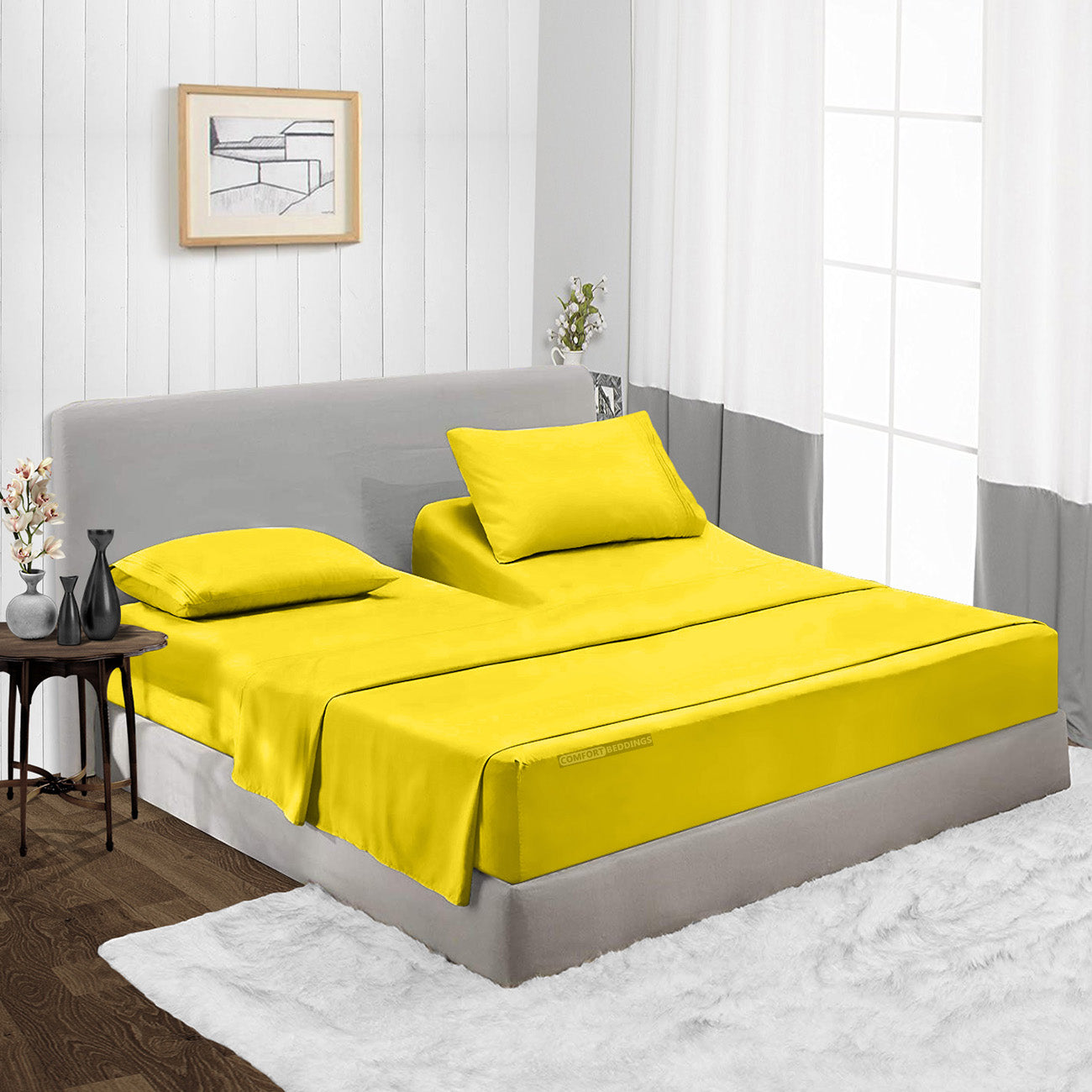 600TC Yellow split head fitted sheets Set