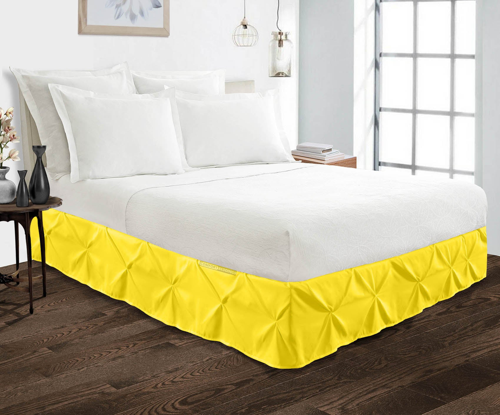 100% Egyptian cotton Yellow Pinch bed skirt