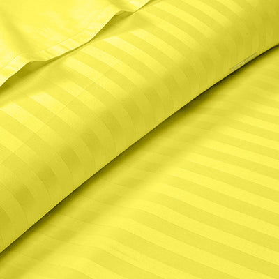 Yellow 600 TC Striped Fitted Sheets