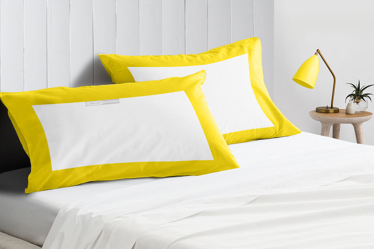 100% Egyptian cotton yellow - white two tone pillow cases