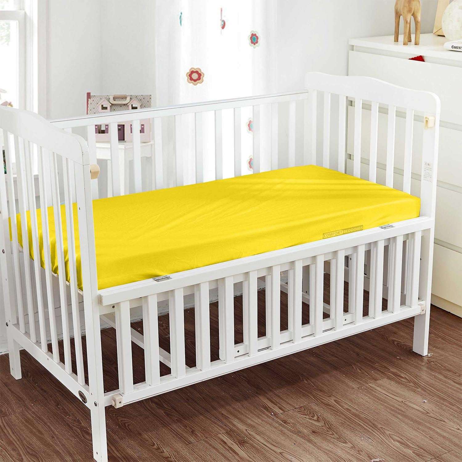 600TC Egyptian Cotton Yellow Crib Fitted Sheets