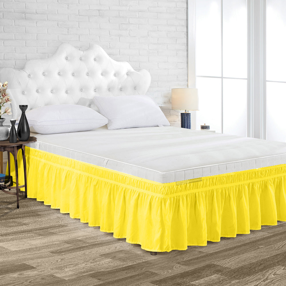 Luxurious Yellow Wrap Around bed skirt