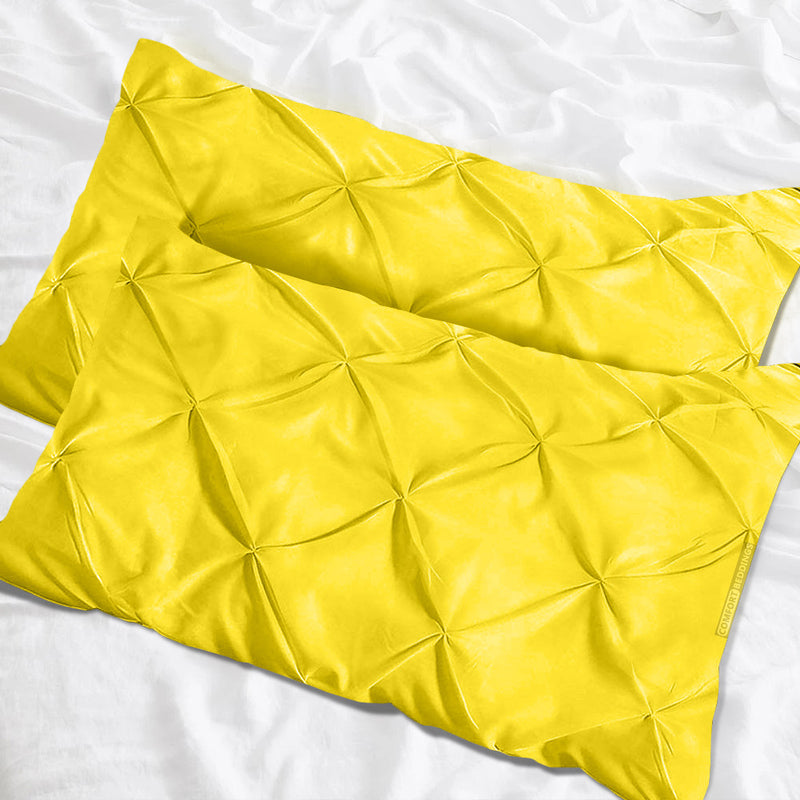 Luxurious yellow pinch pillow cases