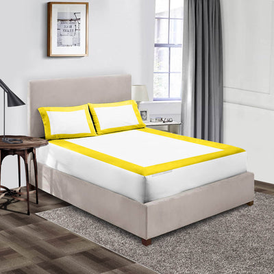 600 TC Yellow - white two tone fitted sheets