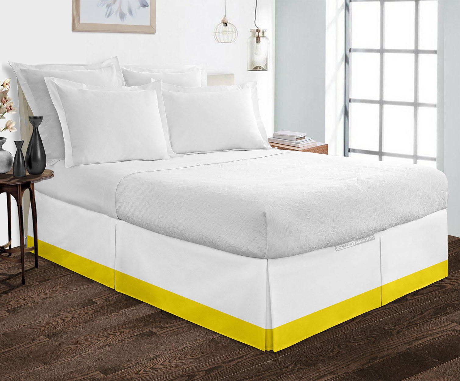 600TC Yellow two tone bed skirt