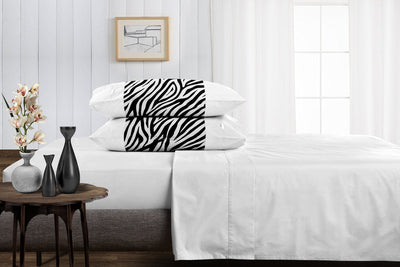 Soft luxurious zebra - white contrast pillowcases