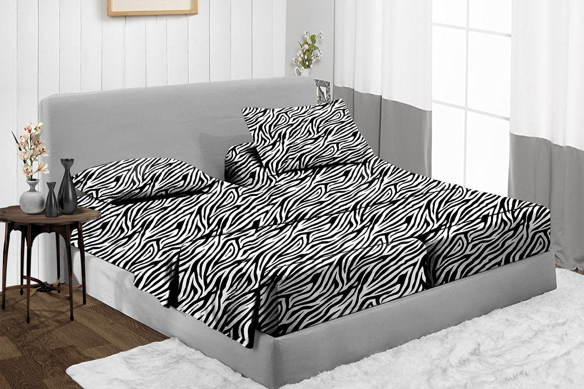 Zebra print Split Bed Sheets Set - 800TC