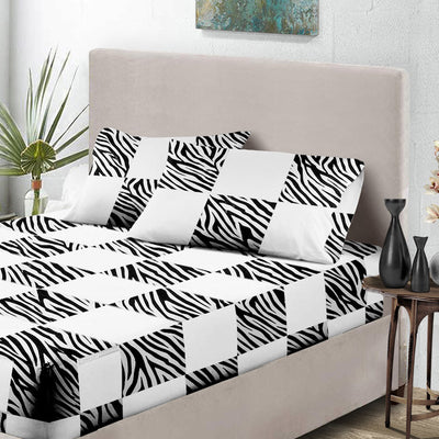 Zebra Print - White Chex Fitted Sheets