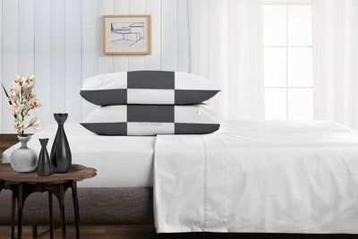 Egyptian Cotton Dark Grey - white chex pillowcases