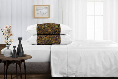 Luxury leopard print with white contrast pillowcases