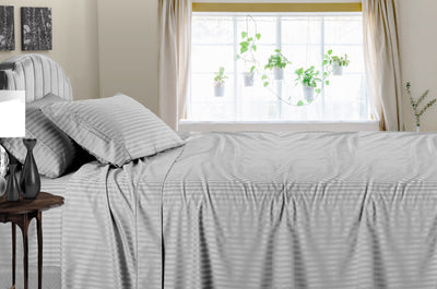 1000 Thread Count striped Light Grey Sheet Set