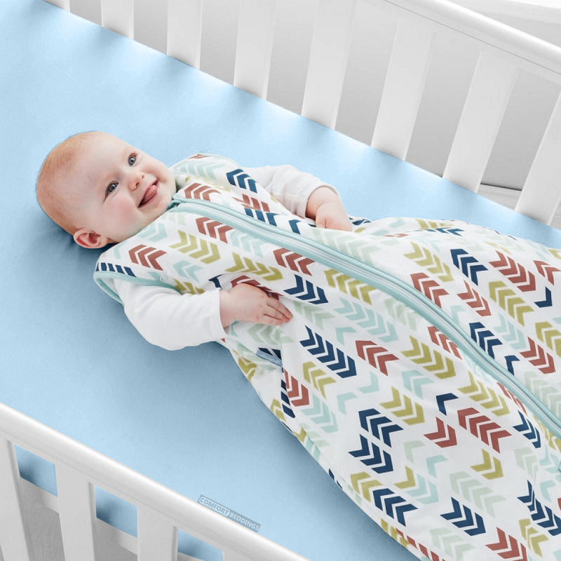 Egyptian Cotton Light Blue Crib Sheets  - 600 and 1000TC