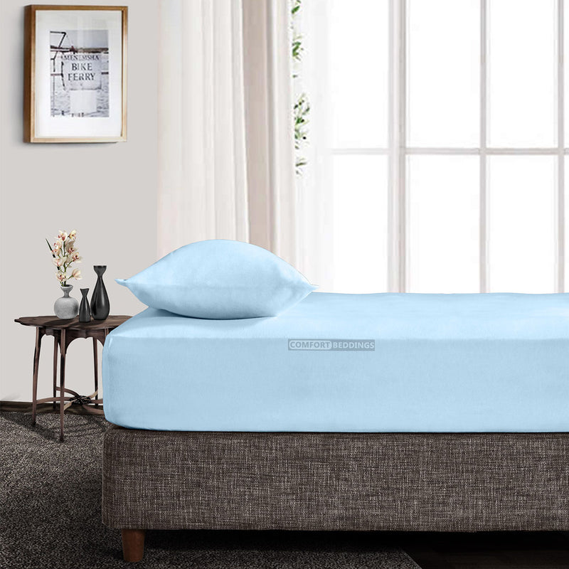 High Quality Light Blue Fitted Sheet