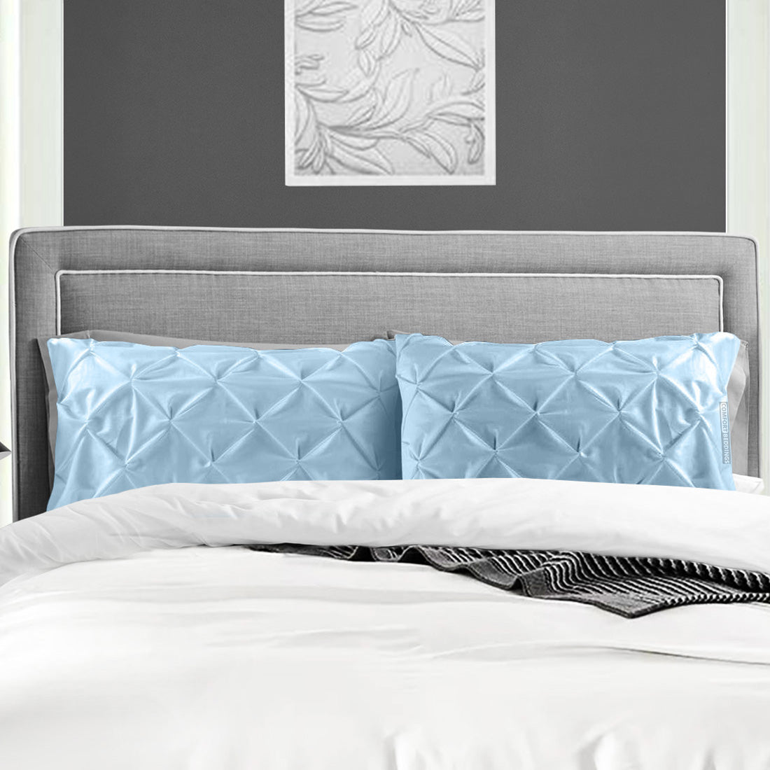 Luxury  Light blue pinch pillow cases
