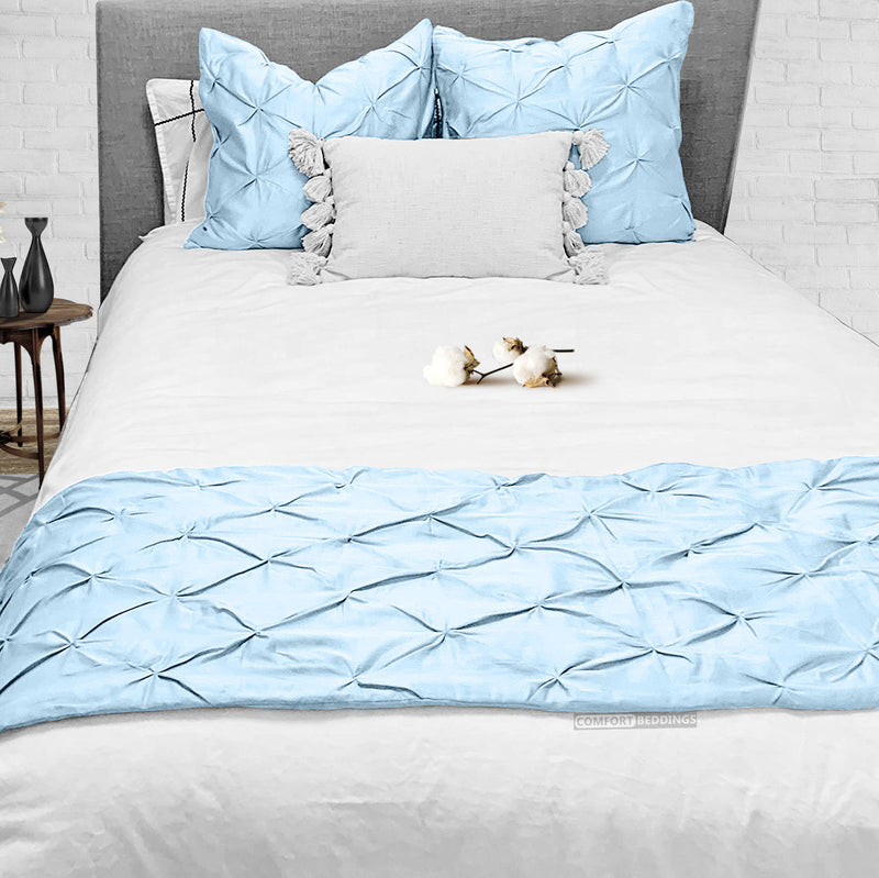 Top Selling Light blue pinch bed runner set