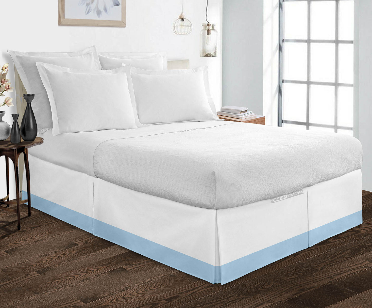 Egyptian cotton Light Blue Two tone bed skirt