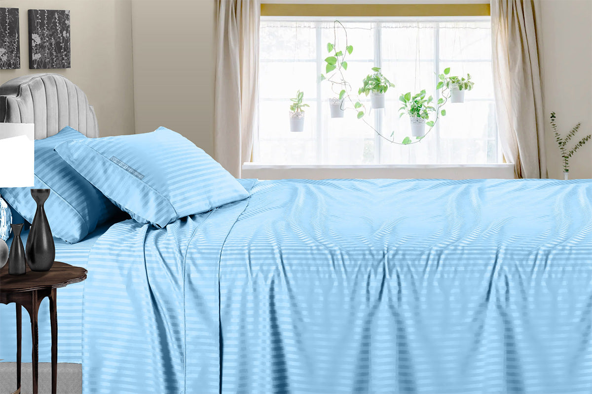 100% Egytian Cotton Light Blue Stripe Sheet Set