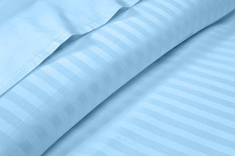 Egyptian Cotton Light Blue Stripe Split Sheet Set