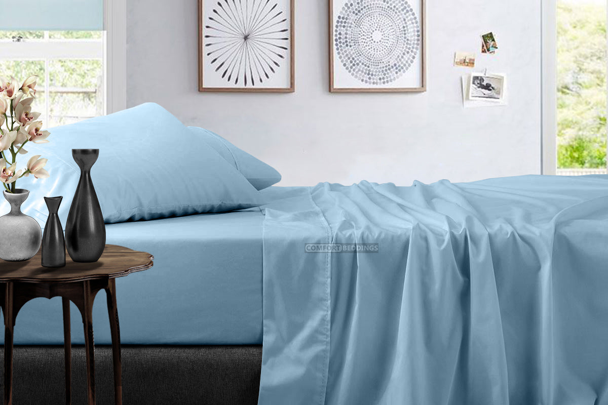 High Quality Light Blue Bed Sheet Set