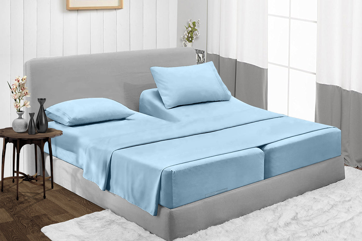 1000 and 600 TC Light Blue Split Sheet Set