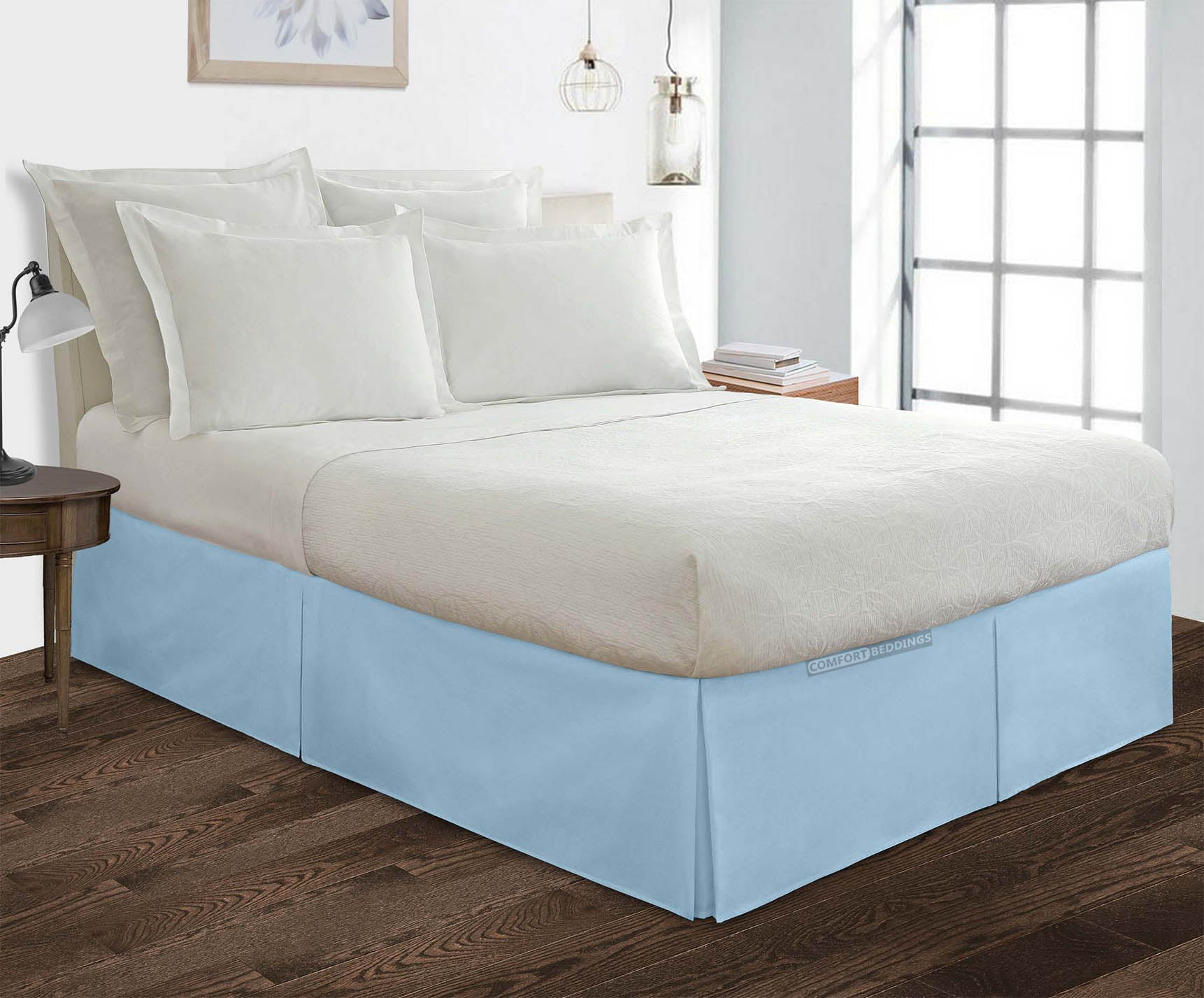 100% Cotton Light blue pleated bed skirt