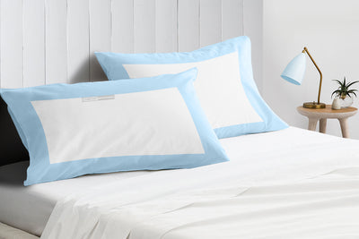 Soft Cotton Light Blue- White Two Tone Pillow Cases