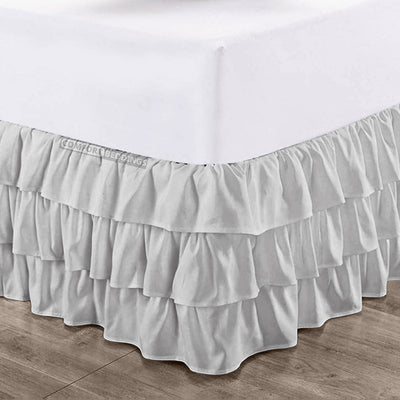 Top Quality Light Grey Multi Ruffled Bed Skirt