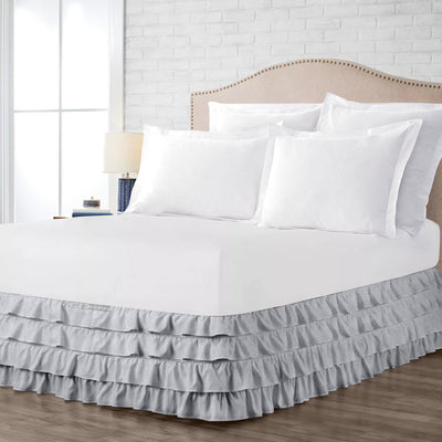 Luxury 600TC light grey waterfall ruffled bed skirt