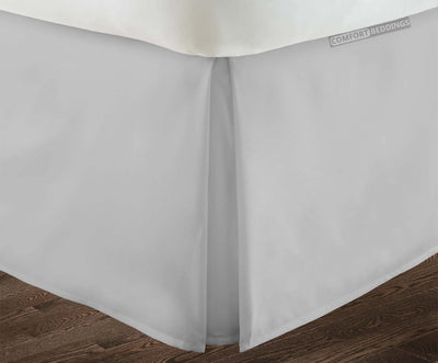 Luxurious light grey pleated bed skirt