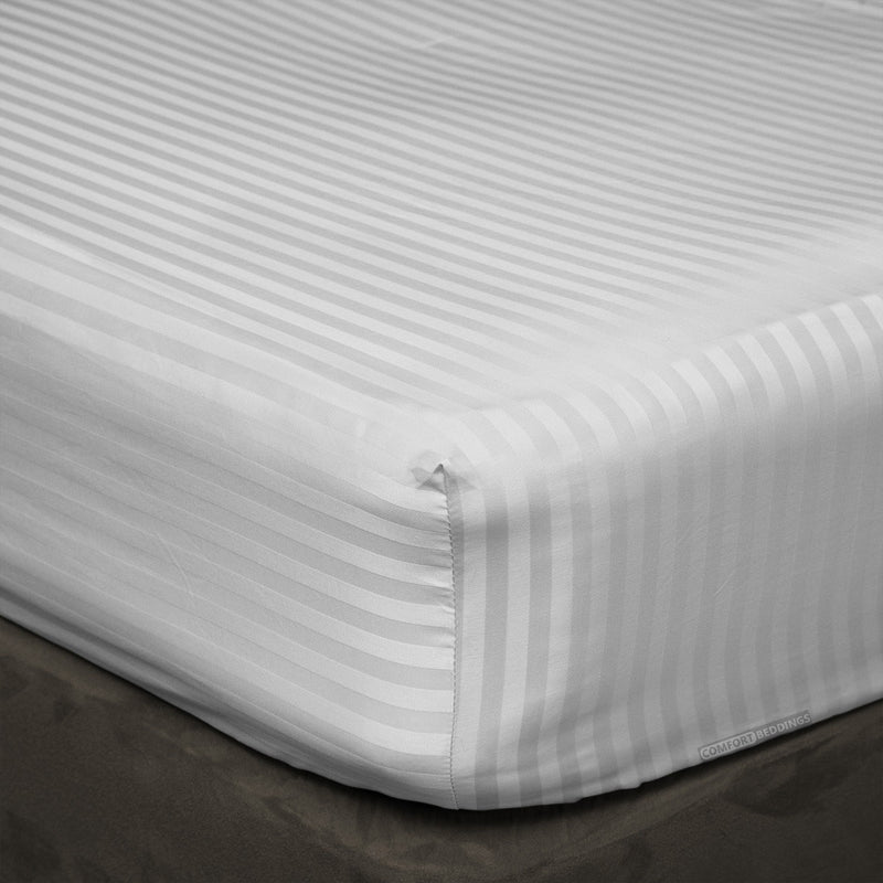 600 TC Striped Light Grey Fitted Sheets