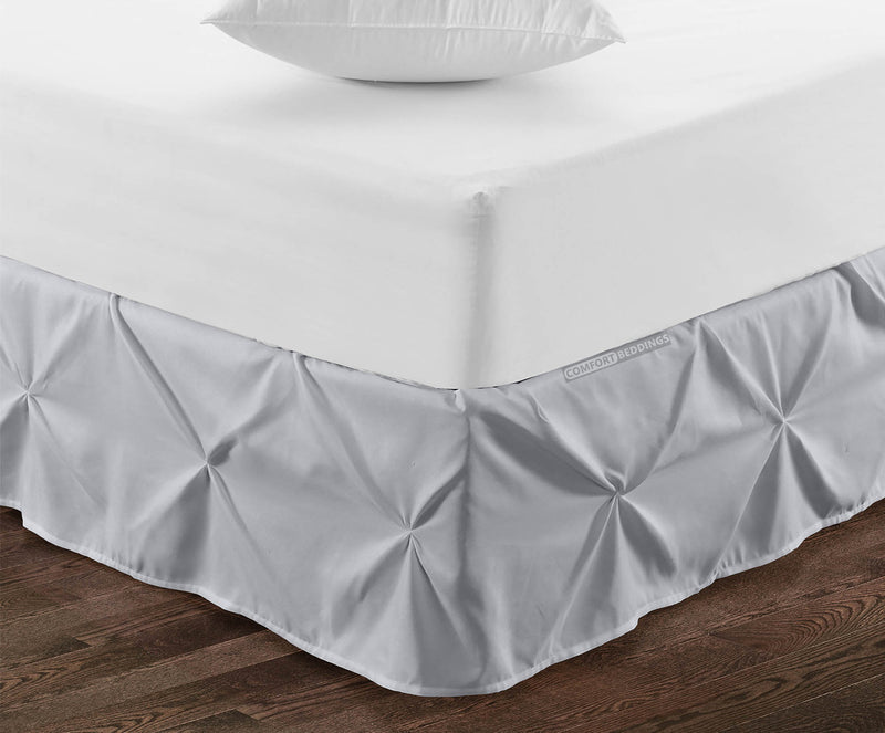 Best 100% cotton light grey pinch pleated bed skirt