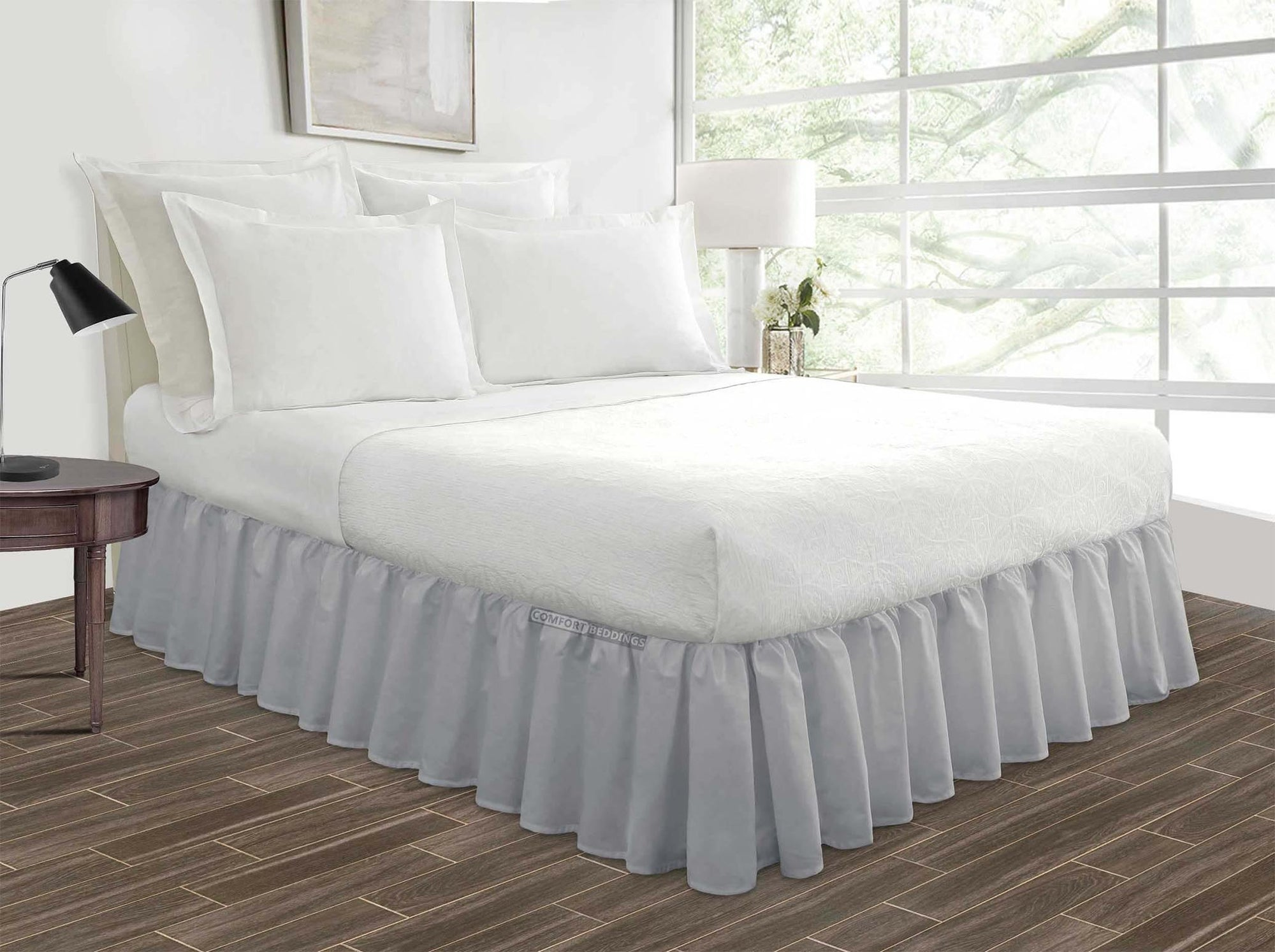Luxurious Light Grey Ruffled Bed Skirt