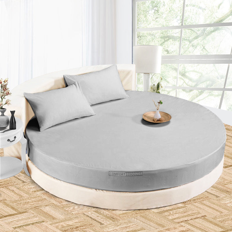Luxury light gray round Sheet Set