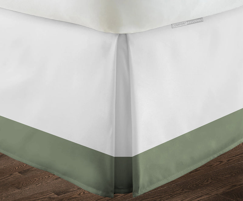 100% Egyptian cotton Moss White two tone bed skirt