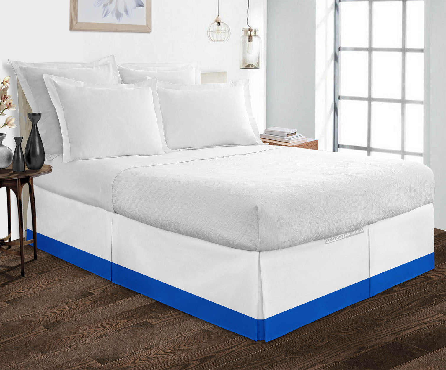 Essential Royal Blue two tone bed skirt