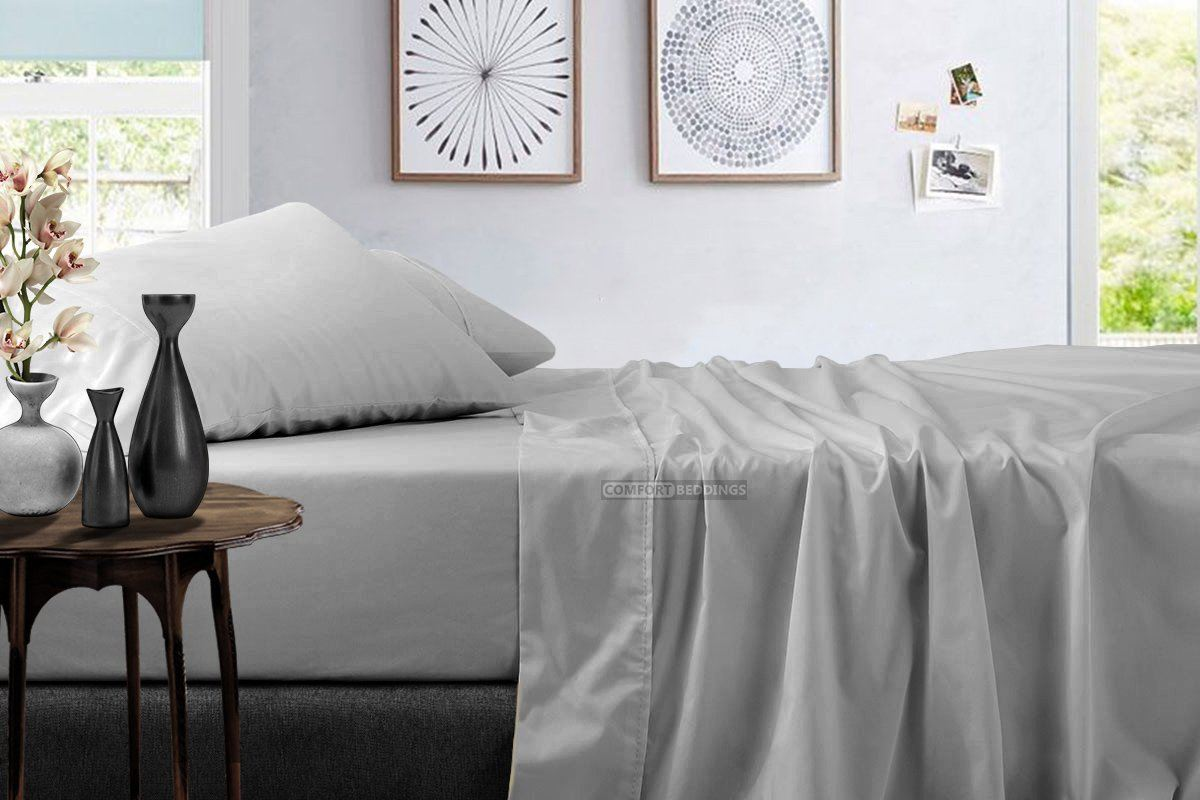 Light Grey Sheet Set For Queen King Twin Size Comfort Beddings