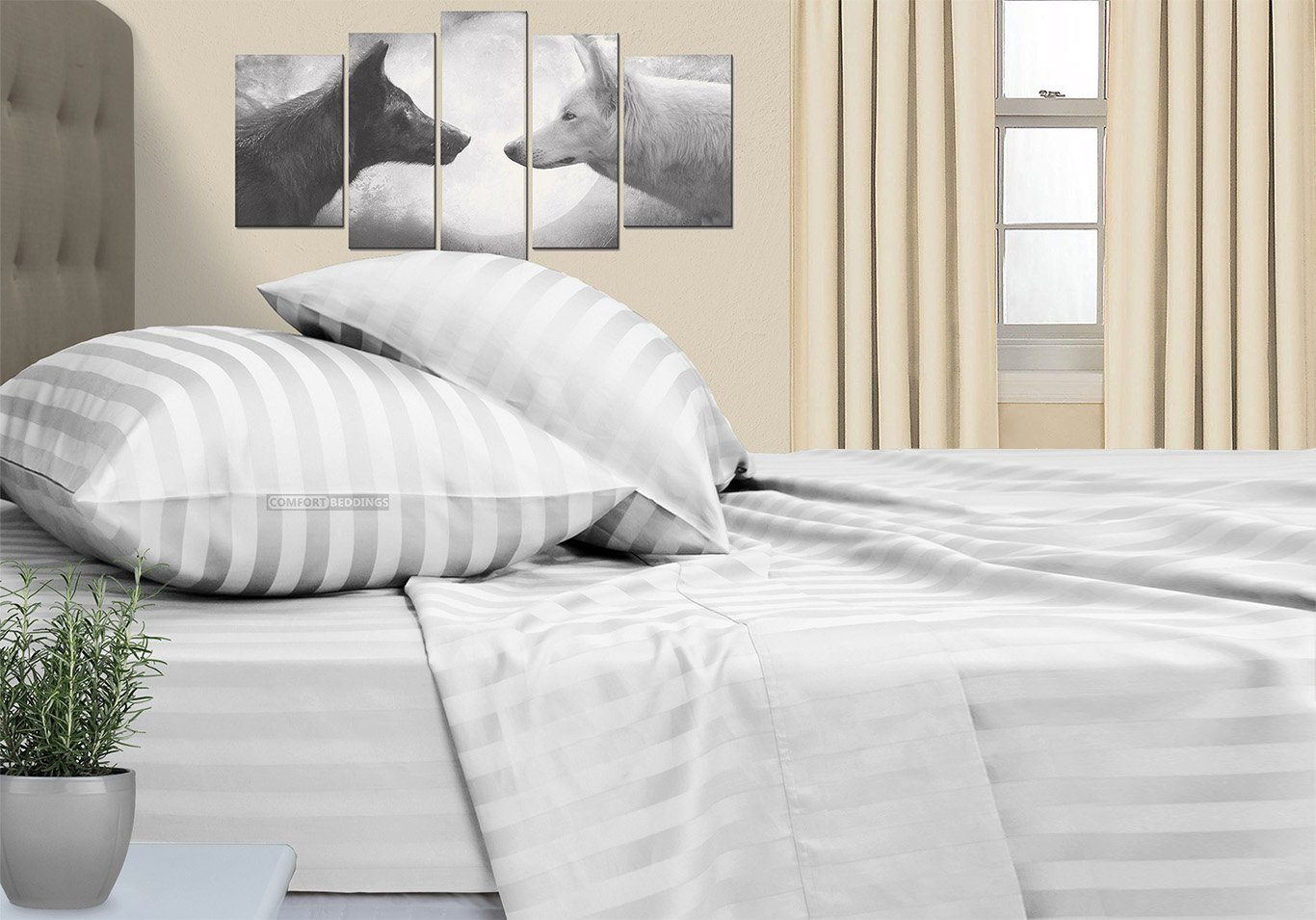 Stripe - Luxurious Cotton White Striped RV Sheet Set