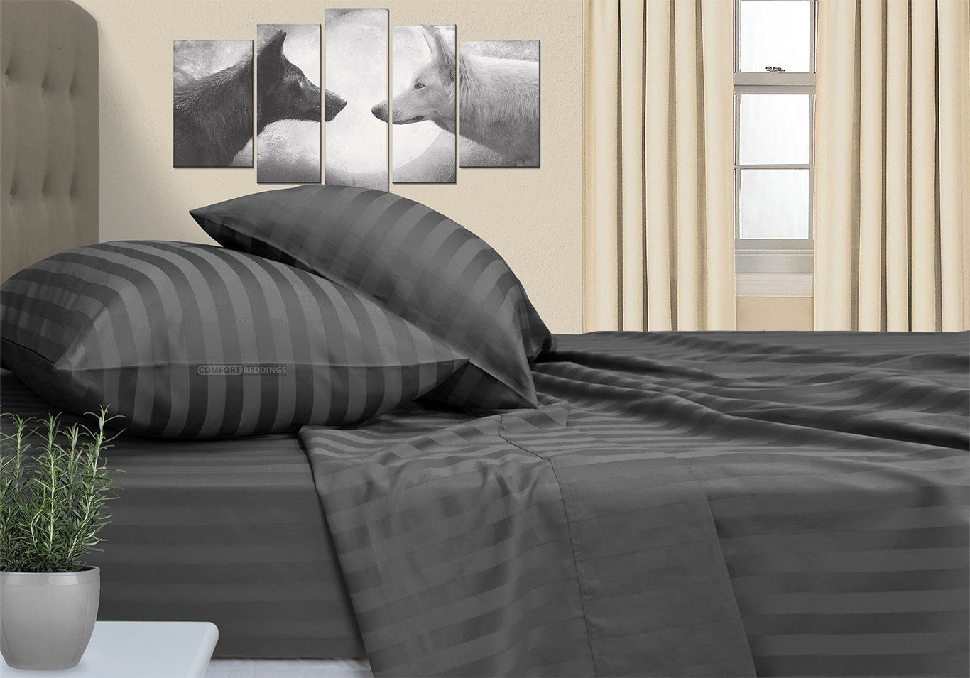Stripe - Luxurious Dark Gray Striped RV Sheet Set