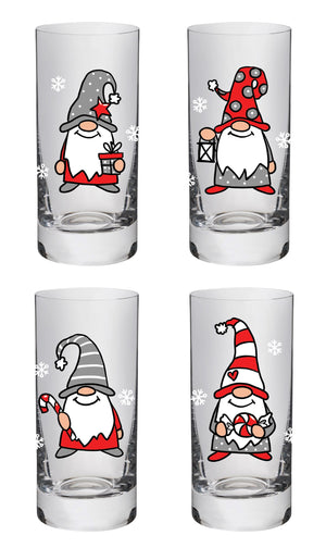 Glass with Gnome holding a Candy Cane