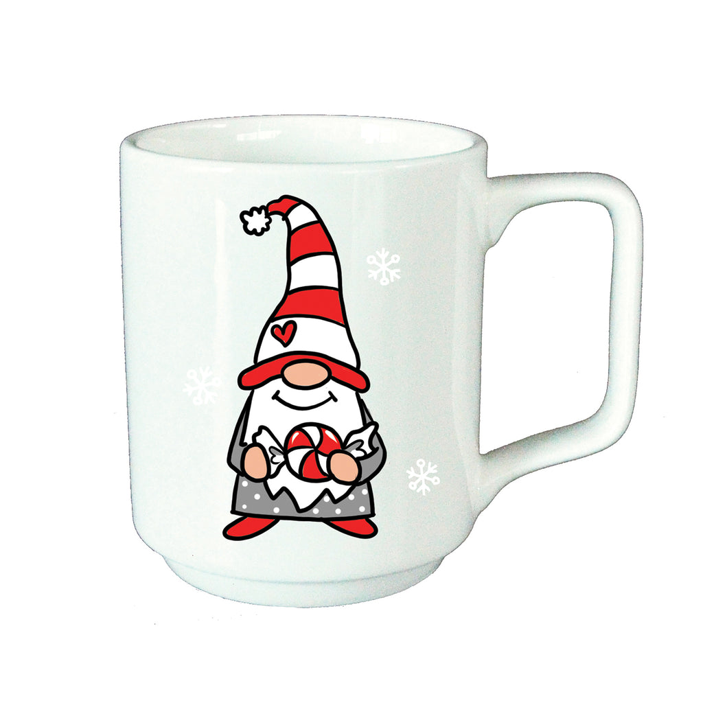 White mug with Gnome holding a Candy
